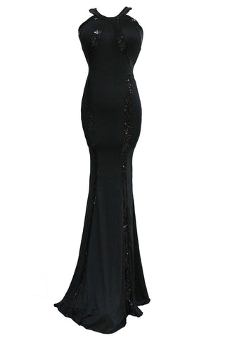 Black Sequin Trim Jersey Gown