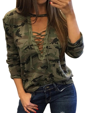 Women's Camoflouge Printed Lace/ V Neck Tops