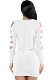 White Cut Out Long Sleeve Ultrashort Sweater Dress