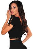 Black Ribbed Lace Up Sleeves Crop Top