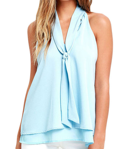Baby Blue Double Cascading Ruffle Neck Tie Sleeveless Top