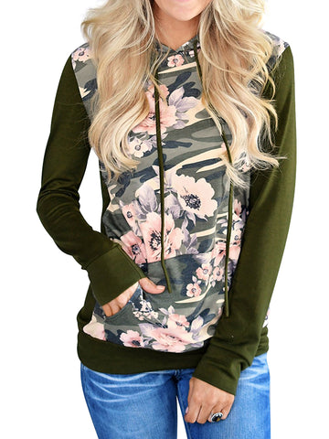 Women's Long Sleeve Floral Print Camouflage Hoodie Sweatshirt Top