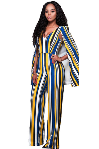 Yellow Blue Stripes Cape Jumpsuit