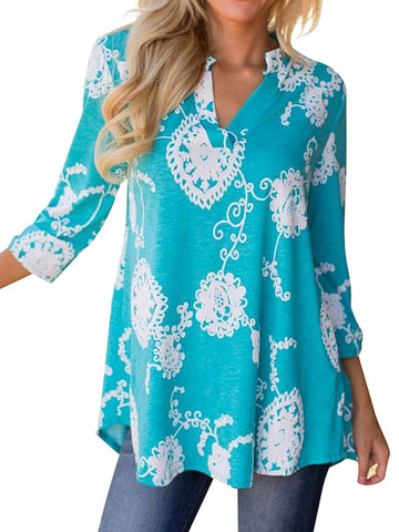 ON SALE NOW! Women's Bohemian 3/4 Sleeve V Neck Floral Print Shirt