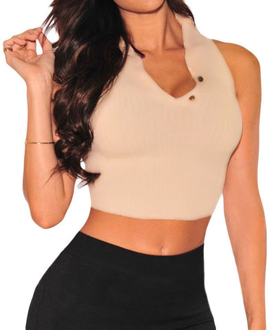 Apricot Mock Neck Sleeveless Crop Top