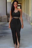 Black Cotton Two Piece Maxi Skirt Set