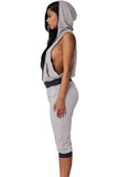 Grey Black Sexy Rogue Sweat Jogger Pant Set