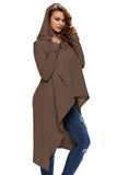 Brown Plain Irregular Oversize Hoodie