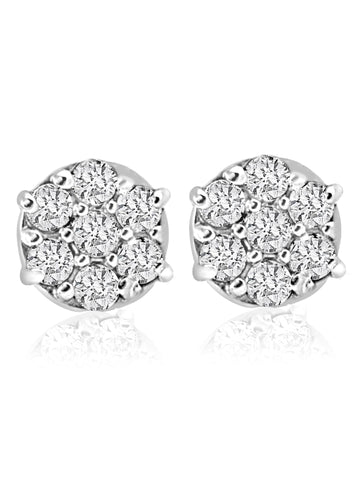 Stunning 1/4 cttw Diamond Cluster Screw Back Studs in 10k White Gold Earrings