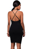 Black See-through Side Cross Back Club Dress