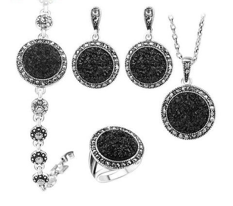 #NEW! Black Stone Silver Plated Jewelry Set