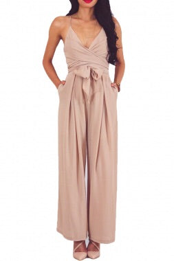 Wrap and Tie Sexy Open Back Jumpsuit
