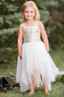 Sequin Bodice Tulle Hi-Lo Dress