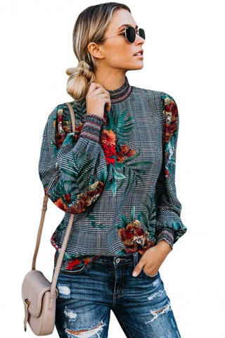 Red Rose Print Smocked Long Sleeve Blouse