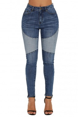 #Blue Retro Patch Front Ankle Zipped Jeans