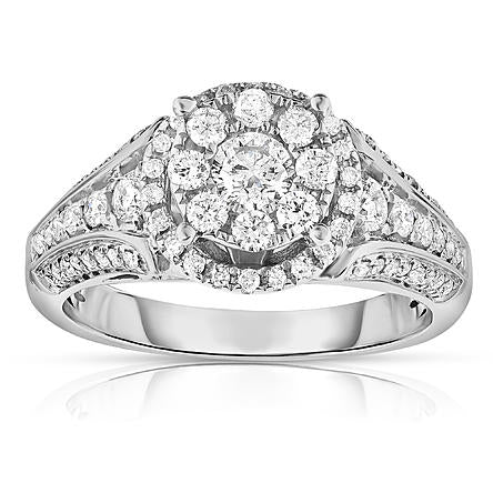 Women's Diamond 10K White Gold Certified 1CT.T.W. Round Engagement Ring - Size 7 Only