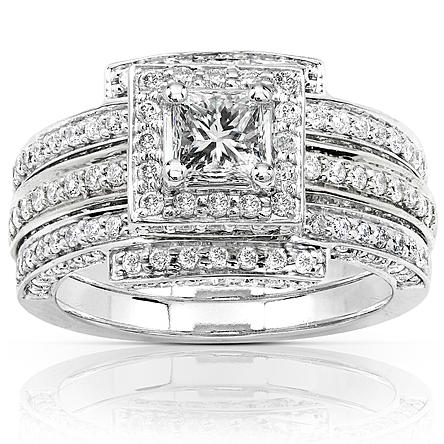 Women's 1 1/2 Carat (ct.t.w.) Diamond Square Center 3-Piece Bridal Set in 14k White Gold