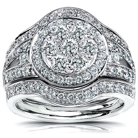 Women's 1 1/5 Carat (ct.tw) Round Diamond Halo Cluster 3-Piece Bridal Rings Set in 14K White Gold