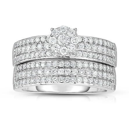 Women's Diamond 10K White Gold 1.0 CTTW Bridal Set