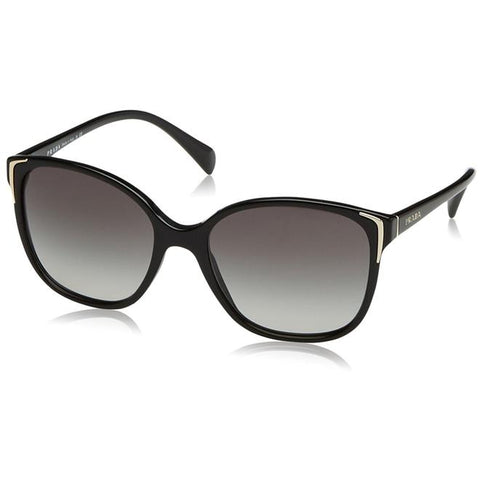 Luxottica Prada PR01OS Women's Sunglasses, 1AB3M1 Black Frame, Gray 55mm Lenses