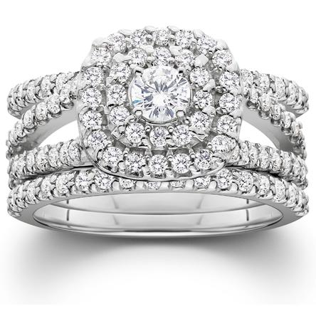 Women's 1 1/4ct Diamond Engagement Cushion Halo Wedding Ring Trio Set 10K White Gold