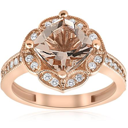 Women's 2 1/3ct Cushion Morganite Vintage Diamond Halo Engagement Ring 14K Rose Gold