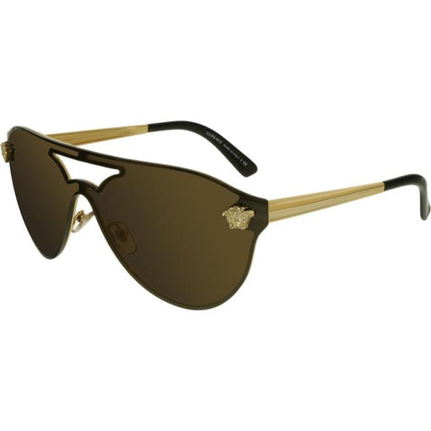 Versace Women's Mirrored VE2161-1002F9-42 Brown Tpu Shield Sunglasses