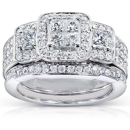 Women's 1 1/6 Carats (ct.t.w.) Bold Diamond Wedding Rings Invisible Setting Triple Halo in 14K White Gold