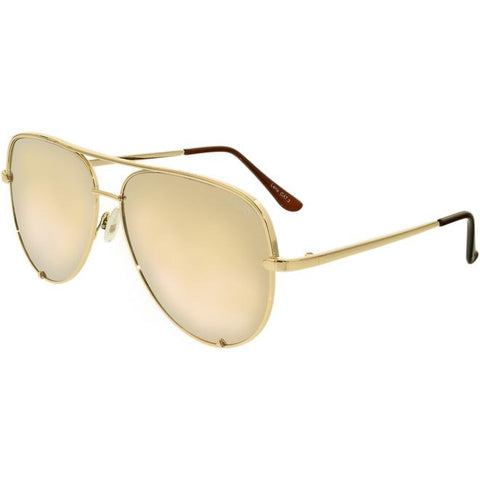 Women's Mirrored Desi Perkins High Key QC-000142-GOLD/GOLD Gold Aviator Sunglasses