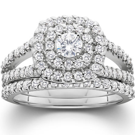 Ladies 1 1/10ct Cushion Halo Solitaire Diamond Engagement Wedding Ring Set White Gold