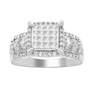 10K White Gold 1CT.TW. Cushion Halo Diamond Engagement Ring - Size 7 Only