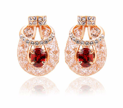 #Luxury Stud Earrings with Ruby Red Gemstone