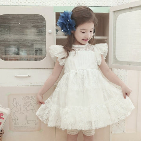 Girls Pure Lace Floral Ruffled Dress