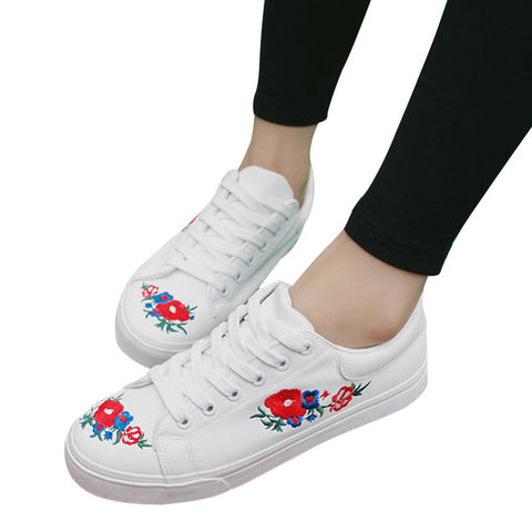 Canvas Shoes/Women's Platform Loafers/Embroided