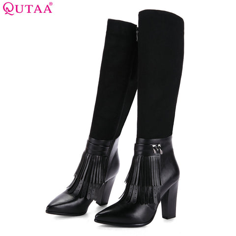 Knee High Boots Tassel Square Heel