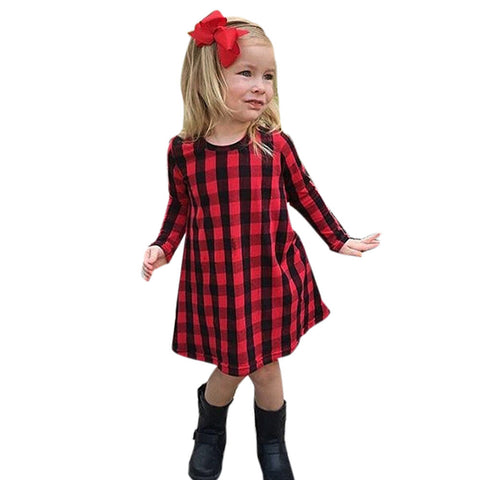 Girls Plaid Print Dress Outfit