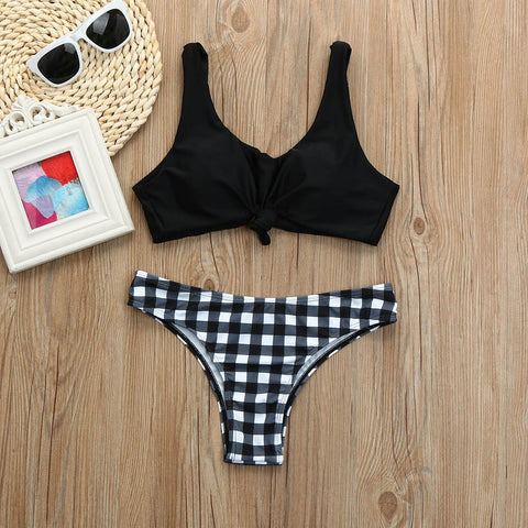 Women Push-up Padded Plaid Printed Bra Bikini Set Swimsuit Swimwear Bathing