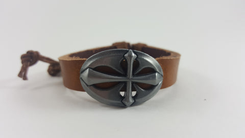Leather Cross Bracelet with Adjustable Knot