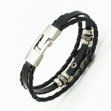 Black Leather Anchor Bracelet Silver Anchor Mens Gift