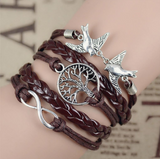 Vintage Multi-Layer Charm Bracelet with Friendship Birds Infinity Charms