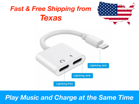 2 in 1 Dual Lightning Charging Splitter Audio Charge iPhone X 7 8 Plus