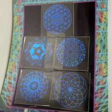 COE 90 - Violet Blue Sacred and Radial Geometry on Clear - Dichroic glass chips for Fusing and Warm Glass Forming