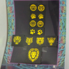 COE 96 - Golden Large Cat Mix on Black - Dichroic glass chips for Fusing and Warm Glass Forming