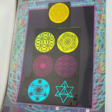 COE 96 - Premium Color Geometry images on Black glass - Dichroic glass chips for Fusing and Warm Glass Forming
