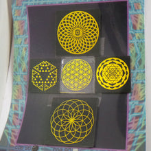 COE 96 - Sacred Geometry on Black and Clear - Dichroic glass chips for Fusing and Warm Glass Forming