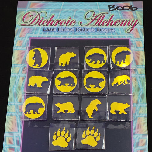 B006 : Bear Mix : 3/4 inch Boroimage Themepack COE33 Laser Etched Images for Flameworking