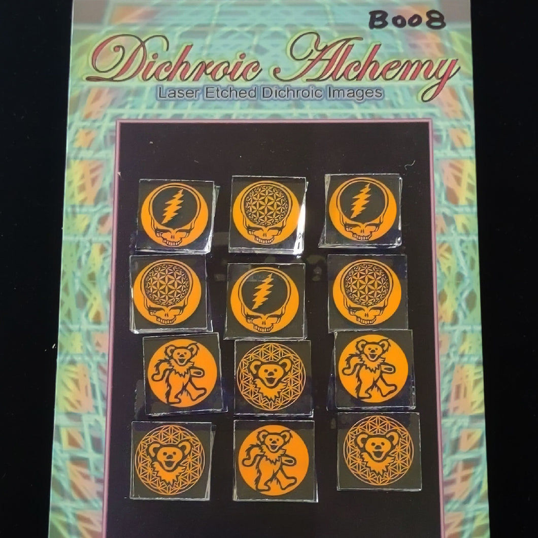 Rainbow Radials : 3/4 inch Boroimage Themepack COE33 Laser Etched Images for Flameworking