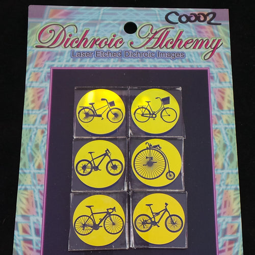 C002 : Historic Bicycles Mix : 1 inch Boroimage Themepack COE33 Laser Etched Images for Flameworking