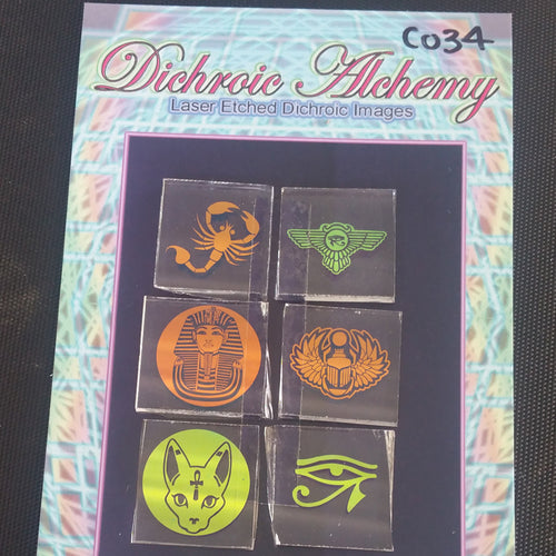 C034 : Pattern Geometry Mix : 1 inch Boroimage Themepack COE33 Laser Etched Images for Flameworking