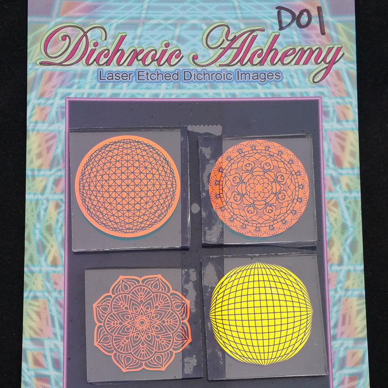 D01 : Mandala Geometry 1.33 inch Boroimage Themepack COE33 Laser Etched Images for Flameworking. This pack contains 4 of the 1.33 inch chips (size D)